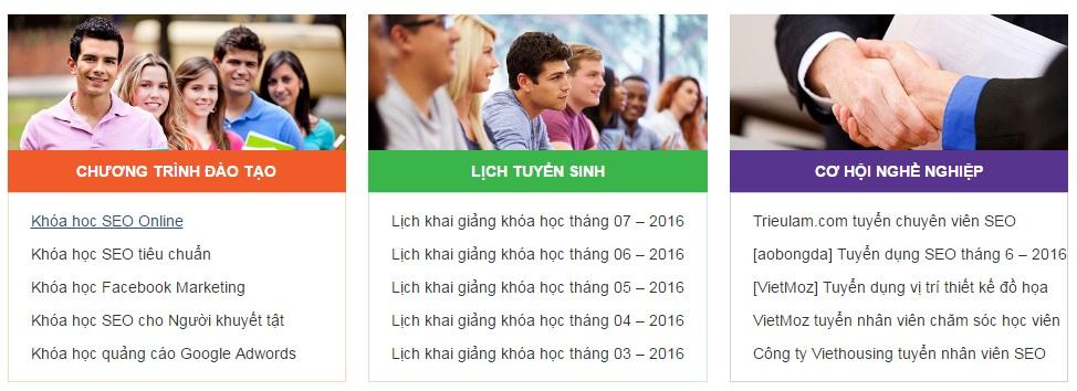 TUYỂN SINH TẠI Trung Tâm Đào Tạo SEO VietMoz