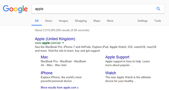 Google Sitelinks Apple