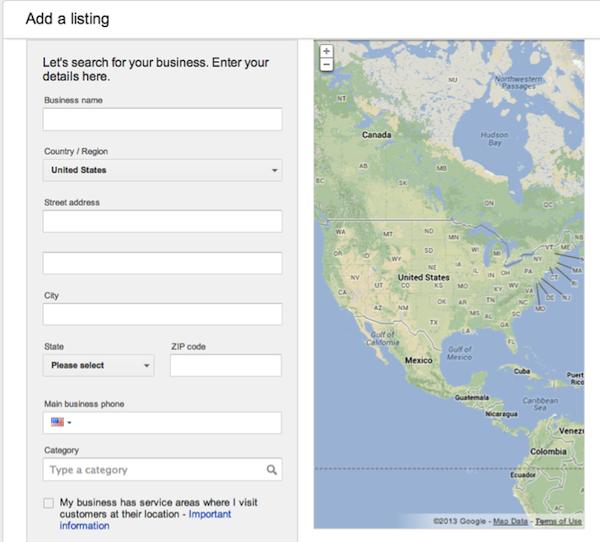 google add a listing
